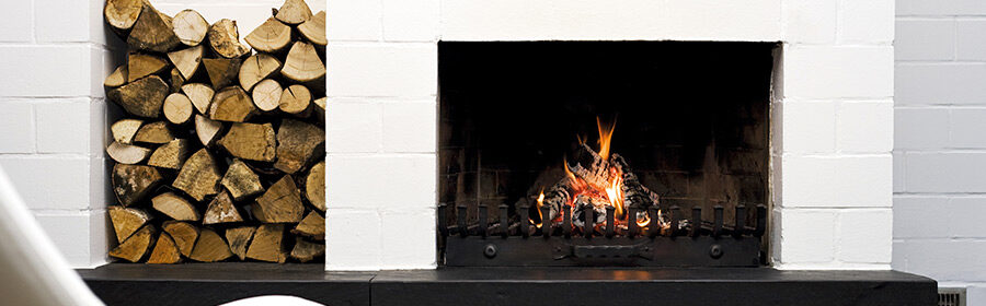 white fireplace cover